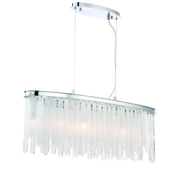 Eurofase Candice Handmade Granular Glass Oval 9-Light Chandelier, Polished Chrome Finish - 31607-018