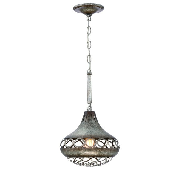 Eurofase Mosto Small Casted Piastra Glass Light Pendant, Antique Silver Finish, Filament Light Bulb - 31632-027