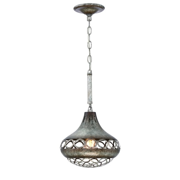 Eurofase Mosto Casted Piastra Glass Light Pendant, Antique Silver Finish, 1 Edison Light Bulb, 16.23 Inches High - 31632-027