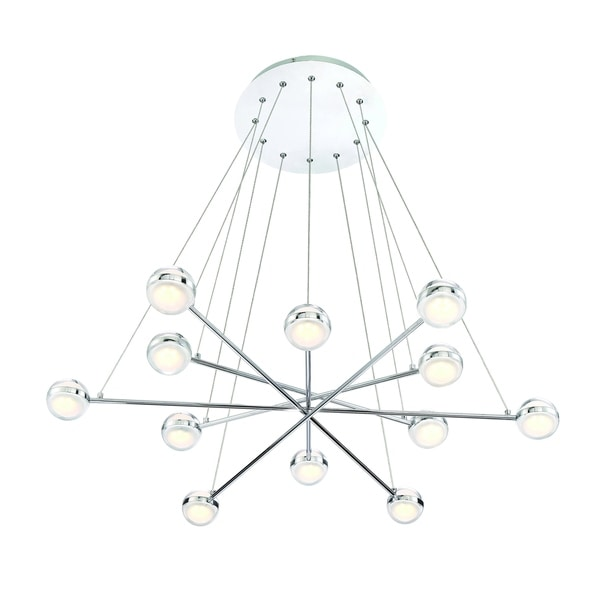 Eurofase Lazio Modern 12 LED Suspended Orbs Chandelier, Clear Glass with Frosted Interior, Polished Chrome Finish - 31864-015