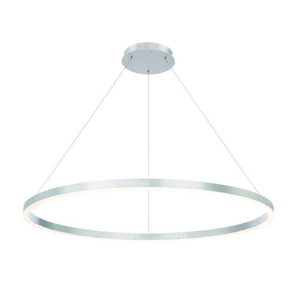 Eurofase Spunto Oversized LED Ring Chandelier, Aluminum Finish with Opal Diffused Shade, 47.25 Inches in Diameter - 31472-012