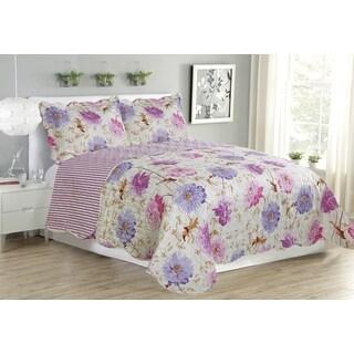 Suzy Lavender Breeze Floral Queen Size 3-Piece Quilt Set