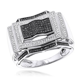 Luxurman 10k Gold 1/2ct TDW Black and White Diamond Ring (H-I/Black, I1-I2)