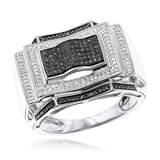Luxurman 10k Gold 1/2ct TDW Black and White Diamond Ring (H-I/Black, I1-I2)
