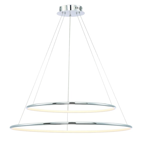 Eurofase Valley Contemporary LED Two-Tier Ring Large Light Pendant, Carved Polished Chrome Finish - 31861-014