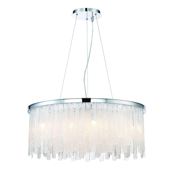 "Eurofase Candice Handmade Granular Glass 13-Light Chandelier, Polished Chrome Finish - 31606-011 - 12"" high x 30"" in diameter"
