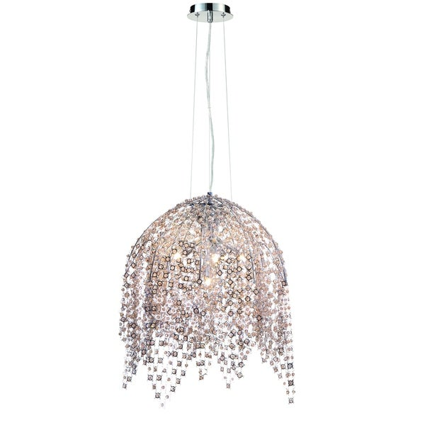 Eurofase Danza Cascading 6-Light Chandelier with Metal and Handmade Cognac Crystal Chain, Chrome Finish - 31617-017