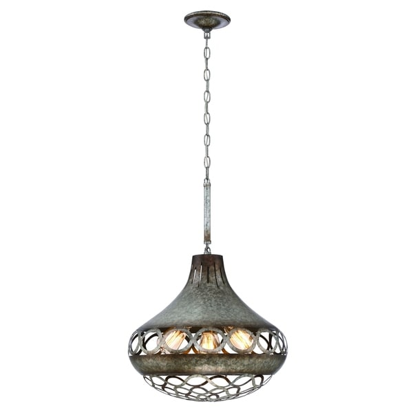 Eurofase Mosto Casted Piastra Glass Light Pendant, Antique Silver Finish, 4 Edison Light Bulbs, 25.5 Inches High - 31633-024