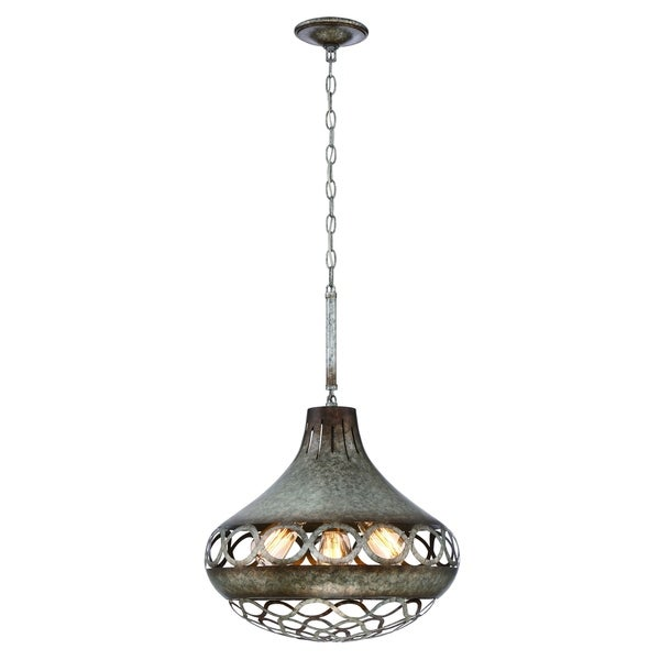 Eurofase Mosto Medium Casted Piastra Glass Light Pendant, Antique Silver Finish, 4 Filament Light Bulbs - 31633-024