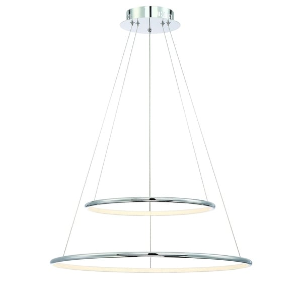 Eurofase Valley Contemporary LED Two-Tier Ring Light Pendant, Carved Polished Chrome Finish, 23.5 Inches in Diameter - 31856-010