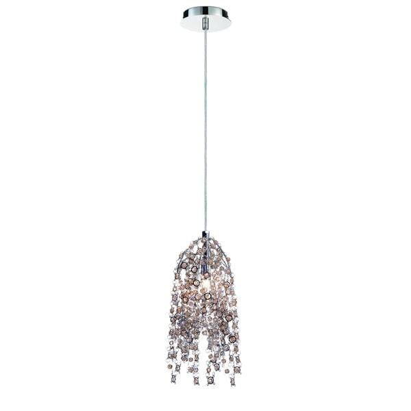 Eurofase Danza Cascading 1-Light Pendant with Metal and Handmade Cognac Crystal Chain, Chrome Finish - 31615-013