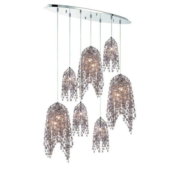 Eurofase Danza Cascading Oval 10-Light Chandelier with Metal and Handmade Cognac Crystal Chain, Chrome Finish - 31618-014