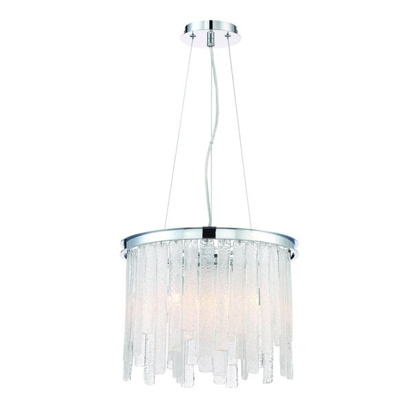 Eurofase Candice Handmade Granular Glass 6-Light Chandelier, Polished Chrome Finish - 31604-017