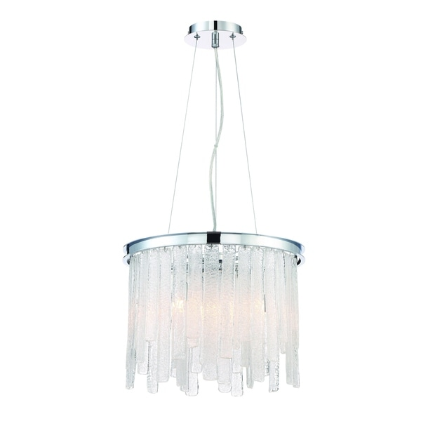 "Eurofase Candice Handmade Granular Glass 6-Light Chandelier, Polished Chrome Finish - 31604-017 - 12"" high x 15.75"" in diameter"