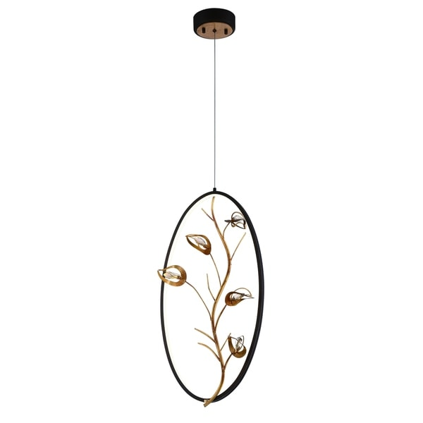 Eurofase Peralta LED Ring Chandelier, Bronze Ring Suspended with Antique Gold Leaf Branches and Crystal Details - 31406-017