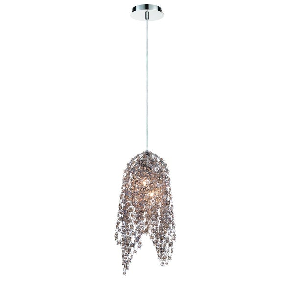 Eurofase Danza Cascading 2-Light Pendant with Metal and Handmade Cognac Crystal Chain, Chrome Finish - 31616-010