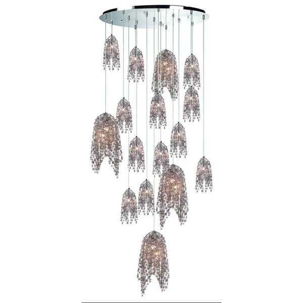 Eurofase Danza Cascading 20-Light Chandelier with Metal and Handmade Cognac Crystal Chain, Chrome Finish - 31619-011
