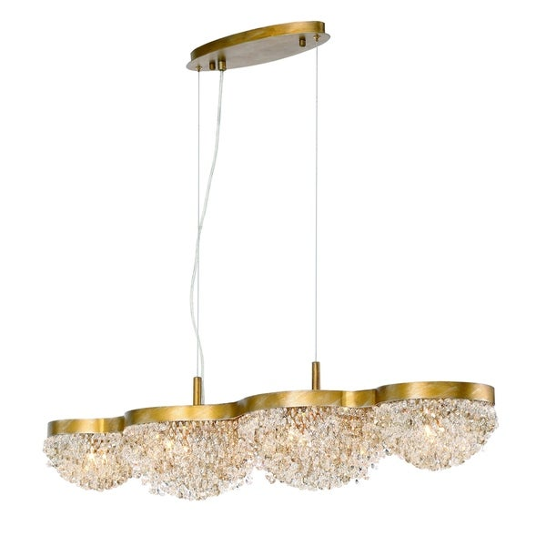 Eurofase Mondo Clustered Crystal Orb Linear 10-Light Chandelier, Antique Gold Finish with Cognac and Clear Crystals - 31832-014