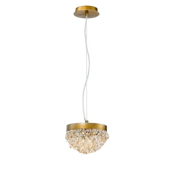 Eurofase Mondo Clustered Crystal Orb 2-Light Chandelier, Antique Gold Finish with Cognac and Clear Crystals - 31828-017