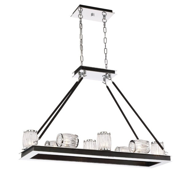 """Eurofase Barile Cylinder Shaped Glass Linear 8-Light Chandelier, Chrome Finish - 31652-018 - 25.25"""" h x 37.5"""" l x 11.5"""" w"""