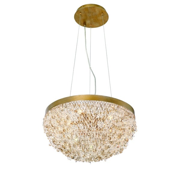 Eurofase Mondo Clustered Crystal Orb 5-Light Chandelier, Antique Gold Finish with Cognac and Clear Crystals - 31829-014