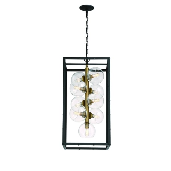 Eurofase Bentley Industrial 9-Light Chandelier, Glass Orbs Incased in Black Framing, Bronze Finish - 31648-011