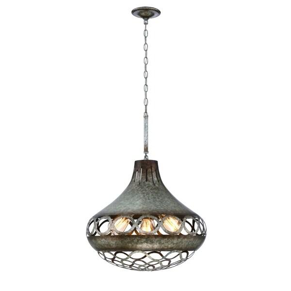 Eurofase Mosto Large Casted Piastra Glass Light Pendant, Antique Silver Finish, 5 Filament Light Bulbs - 31848-015