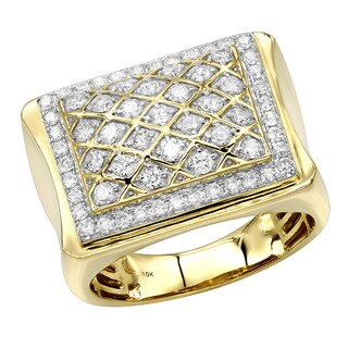 Luxurman Affordable 10K Gold Diamond Ring for Men 1.35c Pinky ring