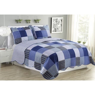 Suzy Plaid Blue Queen Size 3 Piece Quilt Set