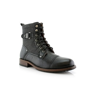 Polar Fox Mike MPX808575 Men's Combat Boots With Dual Lace-up and Zipper Design For Work or Casual Wear