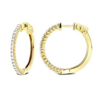 Luxurman 1 Inch Diamond Hoop Earrings 0.86ct 14K Gold