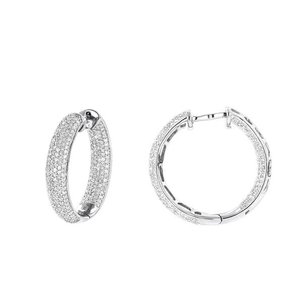 ea4a2b482 Shop Luxurman 14K Inside Out Pave Diamond Hoop Earrings 1.5ct - Free ...