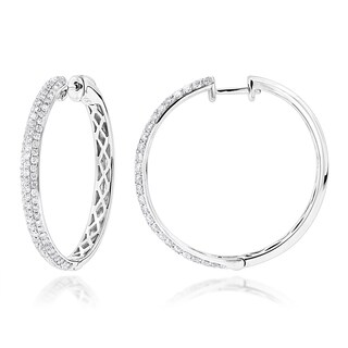 Luxurman Diamond Hoops 14K Gold Diamond Hoop Earrings 1.1ct 1 inch