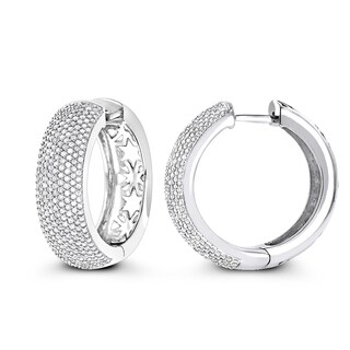 Luxurman Pave Diamond Hoop Earrings 1.5ct 14K