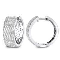 Luxurman Pave Diamond Hoop Earrings 1.75ct 14K