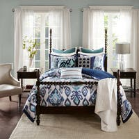 Madison Park Signature Seaglass Ikat Blue Jaquard Comforter Set With A Removable Insert