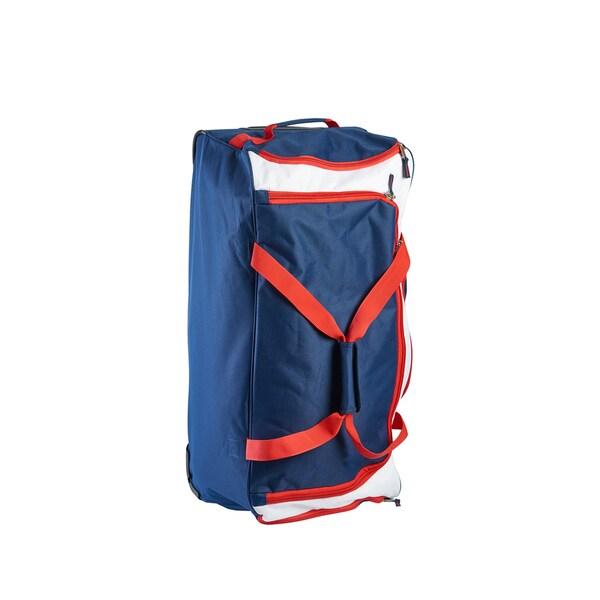 e229305a0a00 Shop U.S. Polo Assn. Navy Red 30-inch Rolling Duffel Bag - Free ...