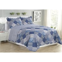 Jennifer Blue Patch 3 Piece Quilt Set