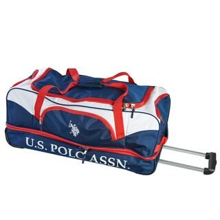 U.S. Polo Association Navy/Red 30-inch Drop-Bottom Rolling Duffel Bag