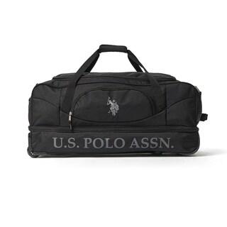 U.S. Polo Association Black 30-inch Drop-Bottom Rolling Duffel Bag