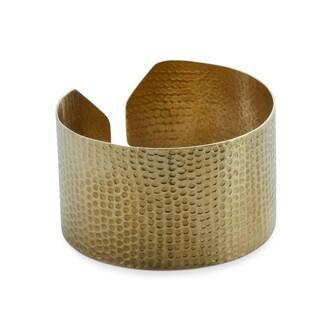 Handmade Gold Overlay Wide Brass Cuff Bracelet (Africa)