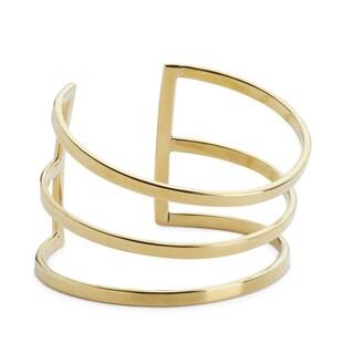 Handmade Gold Overlay XL Wide Brass Cuff Bracelet (Kenya)