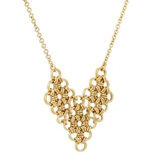 Handmade Gold Overlay Brass Fringe Long Necklace (Africa)