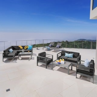 Cape Coral Aluminum 10-piece Estate Collection with Fire Table by Christopher Knight Home