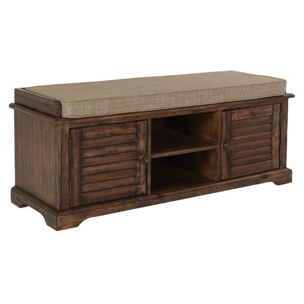 Sensational Shop Osp Home Furnishings Canton Caramel Wood Storage Bench Beatyapartments Chair Design Images Beatyapartmentscom