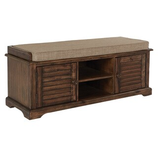 OSP Home Furnishings Canton Caramel Wood Storage Bench