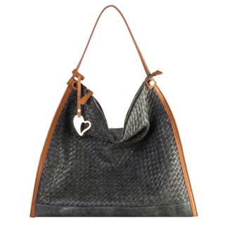 Diophy Woven Pattern Large Hobo with Heart Shape Decoration