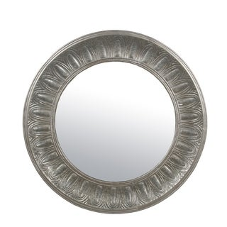 Privilege Grey Wood/Metal Round Mirror