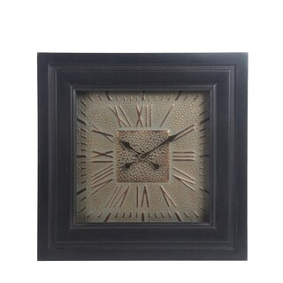 Wood & Metal Wall Clock with Glass