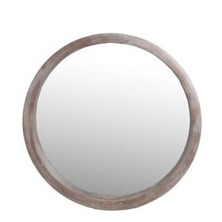 Privilege Whitewashed Natural Wood Round Mirror